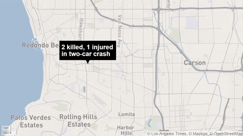 A man and woman were killed in a two-car collision Tuesday night in Torrance.