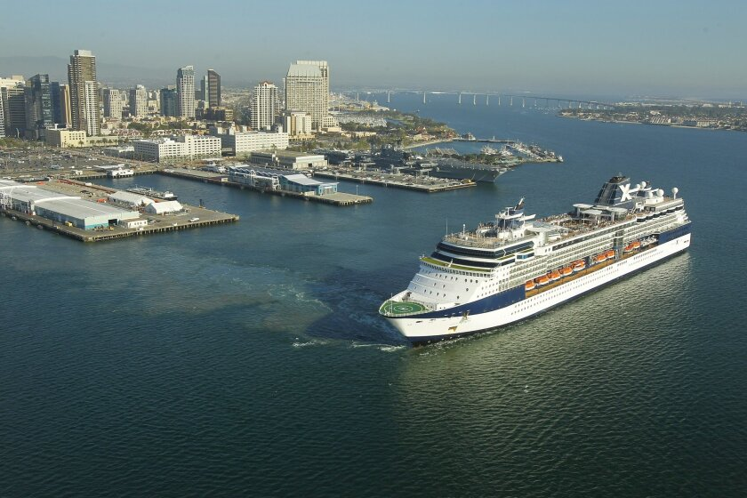 The Celebrity Infinity cruise ship leaves San Diego Bay after a stop in 2014.