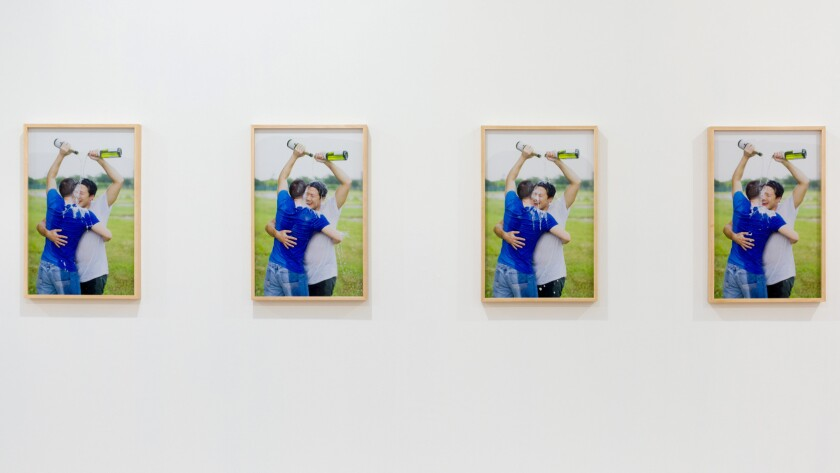 "Kenneth Tam, ""Champagne 1-4,"" 2016, installation view."