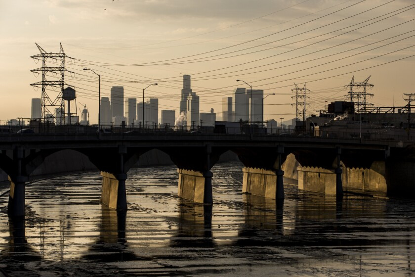 The Los Angeles River as it runs along side of the city of Vernon.