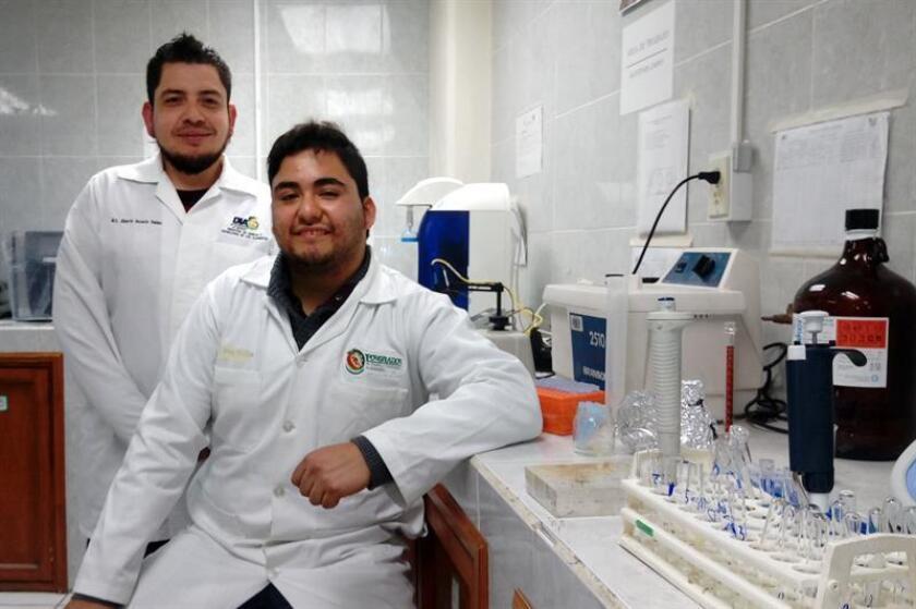 Fotografía cedida por el Consejo Nacional de Ciencia y Tecnología que muestra a los investigadores médicos Jan Alberto Ascacio (i) y José Carlños de León (d), mientras posan en su laboratorio hoy, martes 6 de marzo de 2018, en Coahuila (México). EFE/CONACYT/SOLO USO EDITORIAL
