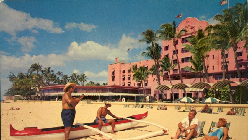 A vintage postcard of the beachfront Royal Hawaiian.