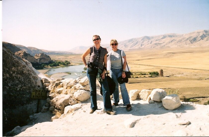 Angie Brenner, right, and Joy Stocke above the Tigris River.