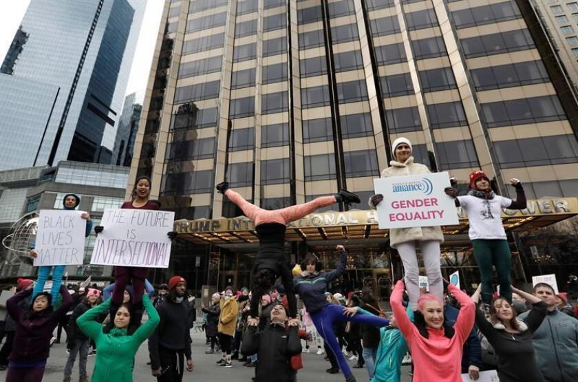 The Cosmic Fit Club protest in front of the Trump International Hotel on Central Park West during the Women's March to protest the policies of US President Donald J. Trump, in New York, New York, USA, 19 January 2019. EFE/EPA