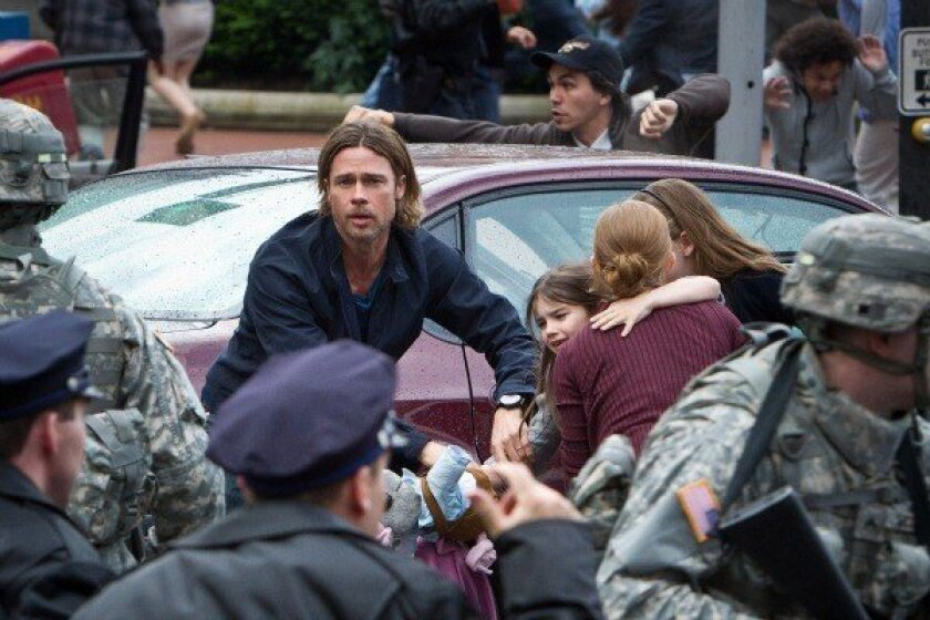 "Brad Pitt stars in the upcoming zombie epic ""World War Z."""
