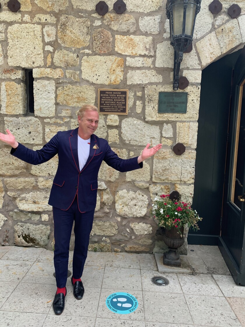 Jean Charles Boisset, owner of the Buena Vista Winery in Sonoma, Calif., greets guests on May 29.