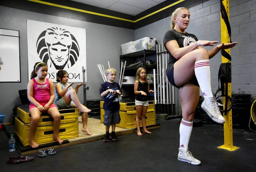 Amanda Douglas teaches a children's class at Cross Fit Kids at CrossFit Hollywood.