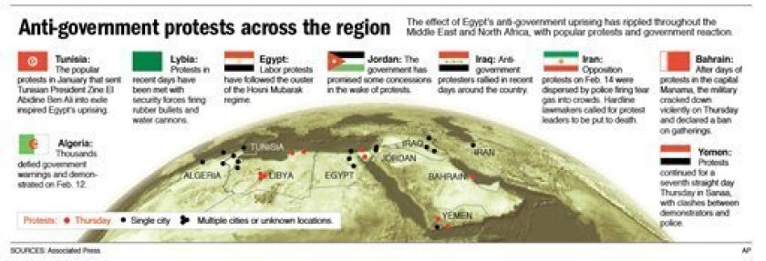 Map provides a roundup of popular protests and government crackdowns in the Middle East and North Africa.