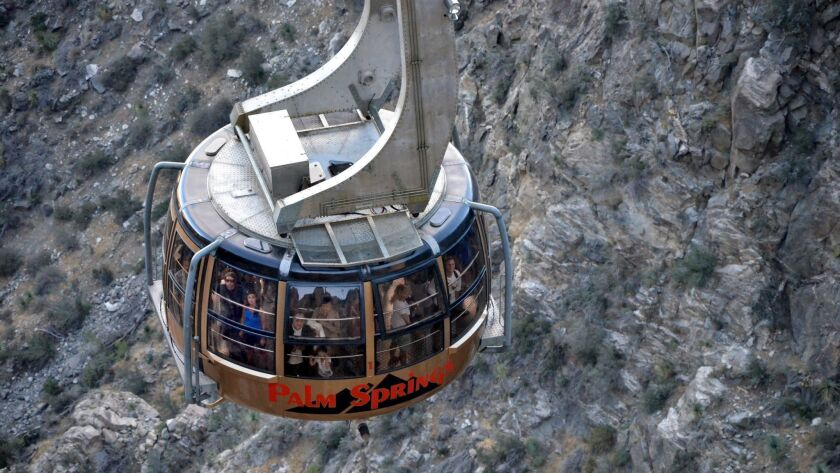 The Palm Springs Aerial Tram climbs in 10 minutes to a mountain station about 8500 feet above the de