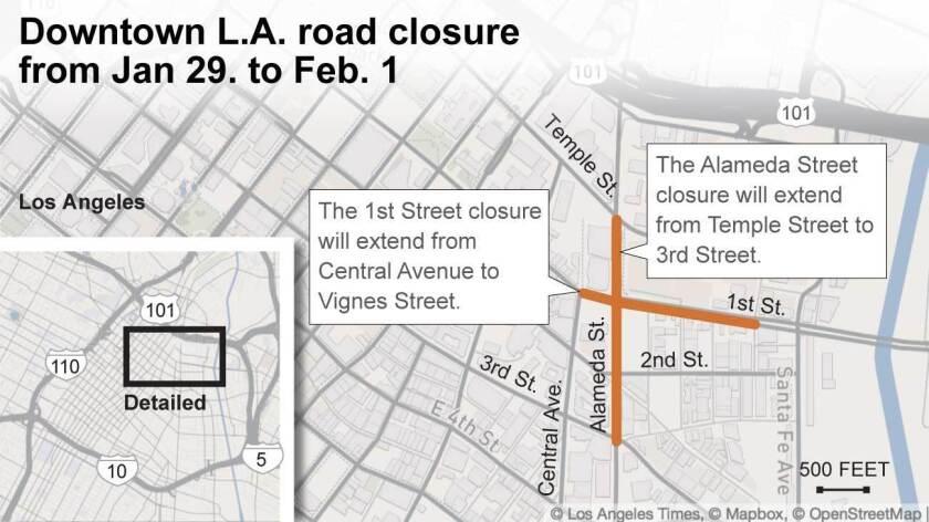 Downtown L.A. road closure