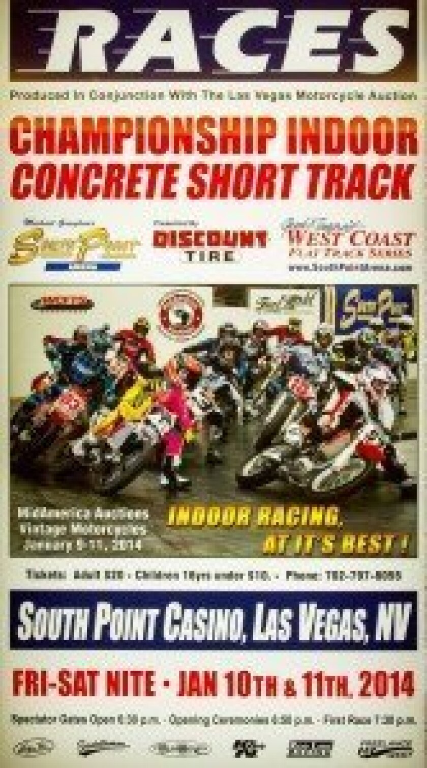 Flat track motorcycle racing at the South Point, Las Vegas