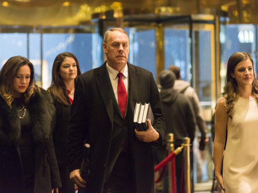 U.S. Rep. Ryan Zinke, R-Montana, arrives for a meeting with President-elect Donald Trump on Dec. 12, 2016 in the lobby of Trump Tower in New York City.