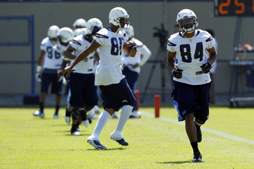 San Diego Chargers Danario Alexander (84) and Malcom Floyd (80) warm up during practice.