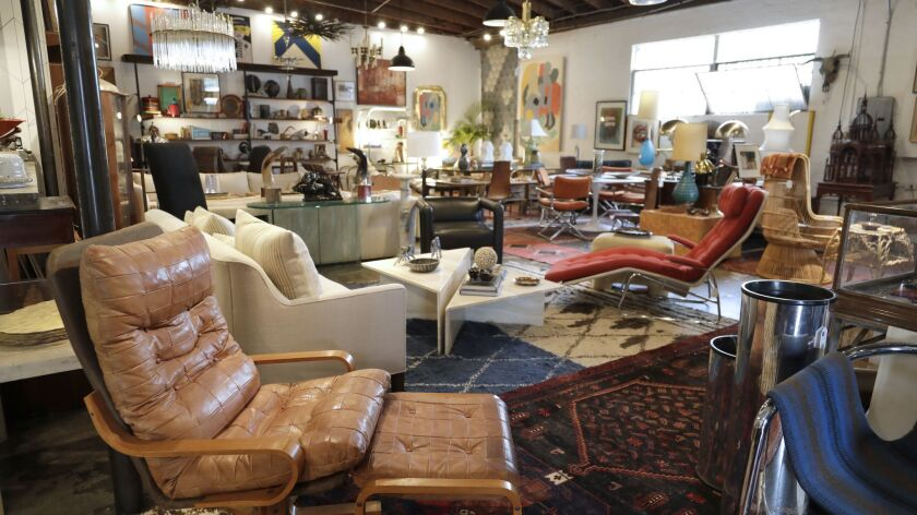 LOS ANGELES, CA -- MAY 06, 2019: A de Sede chair, front, is among the stylish and collectible furnit