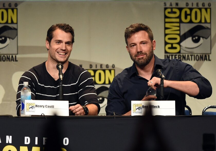 "Actors Henry Cavill, left, and Ben Affleck at the Warner Bros. presentation at Comic-Con International on July 11, 2015. The stars were discussing the movie ""Batman v Superman: Dawn of Justice."""