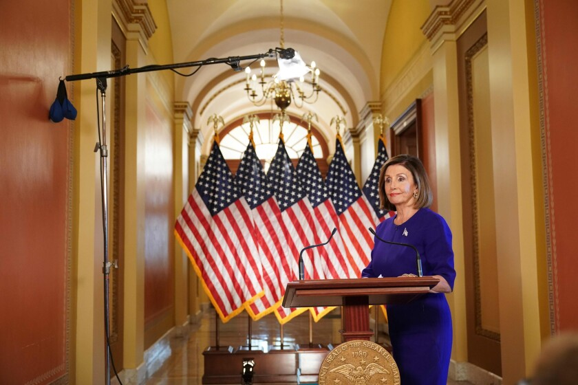 Speaker of the House Nancy Pelosi announced the initation of an impeachment inquiry against President Trump, Sept. 24.