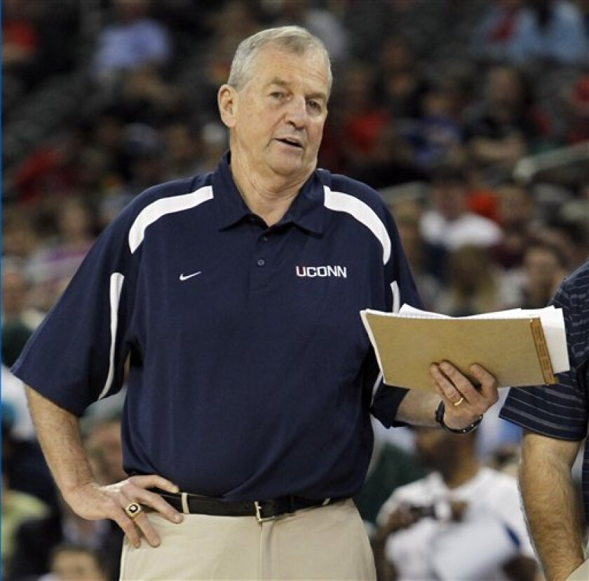 Connecticut head coach Jim Calhoun reacts during a practice for a men's NCAA Final Four semifinal college basketball game Friday, April 1, 2011, in Houston. UConn plays Kentucky on Saturday. (AP Photo/Mark Humphrey)