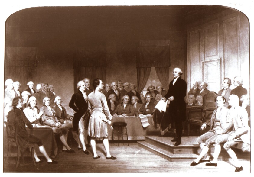 """Junius Brutus Stearns' """"George Washington Addressing the Constitutional Convention,"""" which was painted in 1856."""