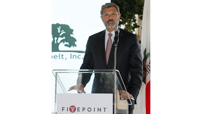 Emile Haddad, FivePoint Holdings LLC chairman and CEO, speaks during an event for the Irvine Wildlif