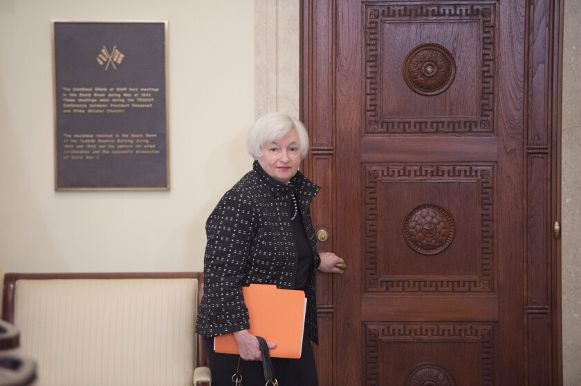 Federal Reserve Chairwoman Janet L. Yellen enters a meeting at the central bank's Washington, D.C., headquarters on Nov. 30.