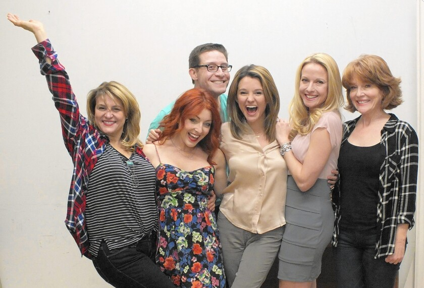 """The cast assembles for the musical """"Real Housewives of Toluca Lake"""" at the Falcon Theatre, which begins March 23."""