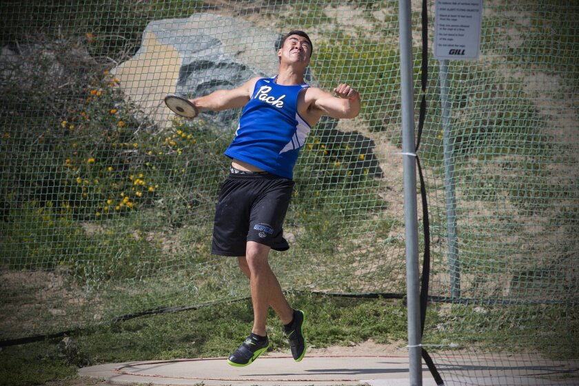 West Hills' Brenden Song, who finished second in the discus at last year's state meet, comes from a track and field family of weight men.
