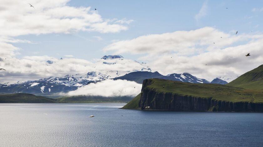 The Palisade Cliffs and Roundtop Mountain from Sankin Island, Ikatan Bay, near Isanotski Strait, the Aleutians, Southwest Alaska, summer.