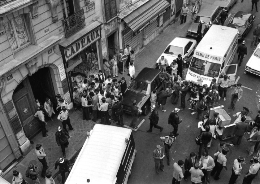 FILE -- This Aug. 9, 1982 file photo, shows a general view of the scene of a deadly attack on the Jo Goldenberg Jewish restaurant and deli, in Paris, France. A Jordanian official said Wednesday , Feb 10, 2016, that a Jordanian court has rejected a request by France to extradite two Jordanians sough