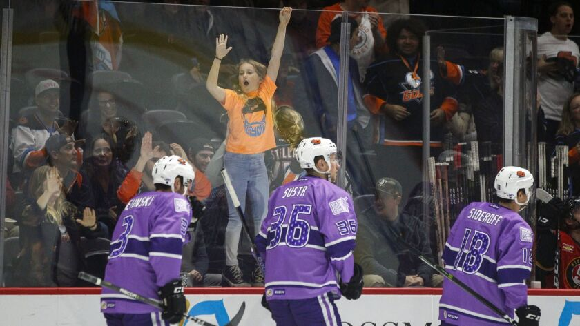 A young fan cheers on the Gulls after they scored during a game against Stockton.