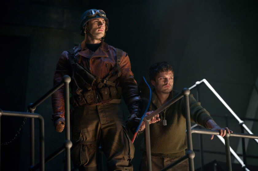 Fans want Chris Evans' Captain America, left, and Sebastian Stan's Bucky to become a couple.