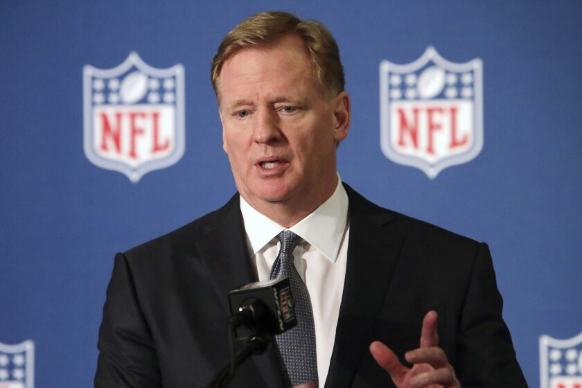 NFL Commissioner Roger Goodell speaks during a news conference in Irving, Texas in 2018.