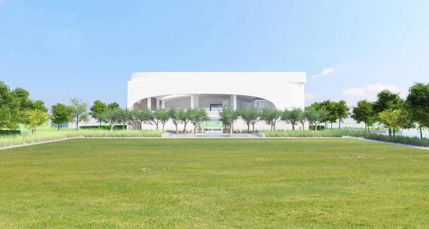 Costa Mesa's planned 22,860-square-foot library at Lions Park is shown in this rendering.
