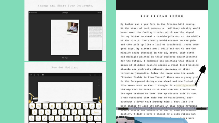 At left, two screenshots of Hanx Writer from Tom Hanks; at right, The Rumpus' Typing Writer.