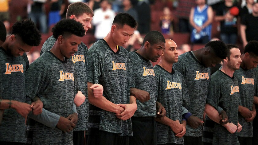 Lakers Link Arms During National Anthem Following Nationwide Protests Los Angeles Times