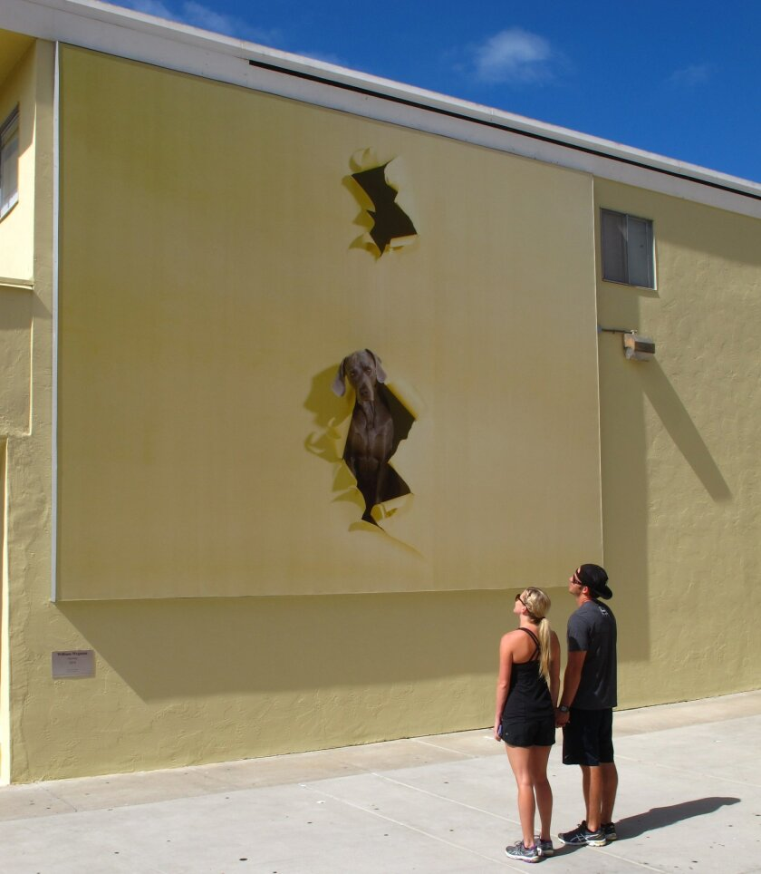 "The giant mural, ""Opening"" by artist and photographer William Wegman, was installed September 2014 at 1162 Prospect St. in La Jolla as part of the ongoing ""Murals of La Jolla"" public-art series."