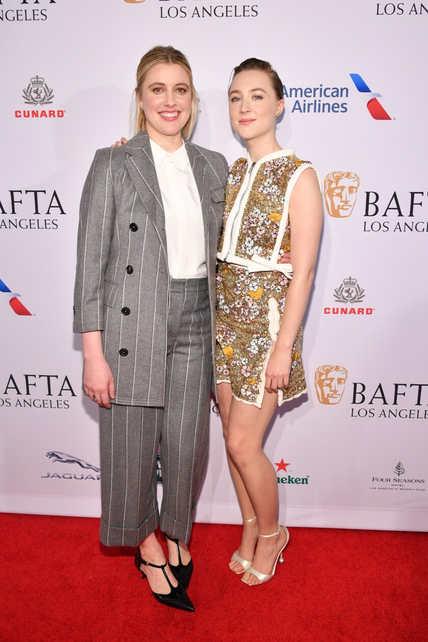 Greta Gerwig and Saoirse Ronan at the BAFTA tea party.