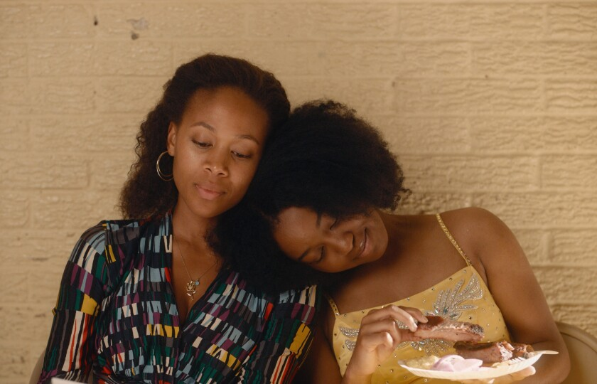 """Nicole Beharie and Alexis Chikaeze as Turquoise and Kai Jones in """"Miss Juneteenth."""""""