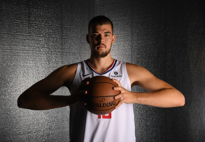 Clippers center Ivica Zubac poses for a photo on media day in Playa Vista.
