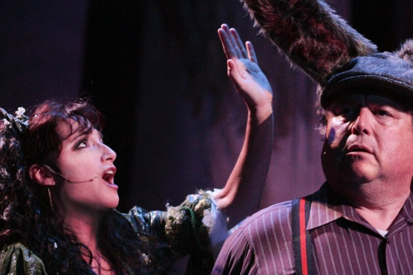 """Sandy Campbell as Titania and Tom Stephenson as Bottom in Intrepid Shakespeare Co.'s """"A Midsummer Night's Dream, the Musical."""""""