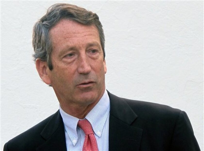 FILE - In this Jan. 19, 2012 file photo, former South Carolina Gov. Mark Sanford leaves The Citadel in Charleston, S.C. Sanford a former two-term governor who was a rising GOP star before he vanished from South Carolina for five days in 2009, is one of 16 candidates on the ballot in the upcoming March 19, 2013, congressional GOP election. As national Republicans look for answers after their November disappointments, a congressional primary along the South Carolina coast has emerged as a free-fo