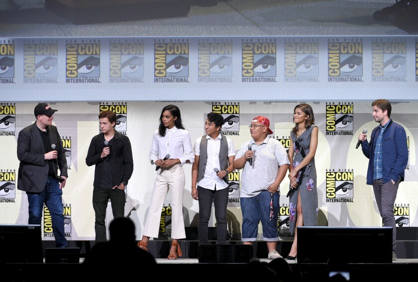 "Cast members from ""Spider-Man: Homecoming"" at Comic-Con."