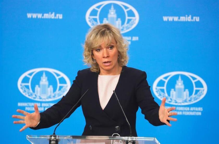Fotografía que muestra a la portavoz del Ministerio de Asuntos Exteriores de Rusia, Maria Zakharova, durante una rueda de prensa. EFE/Archivo