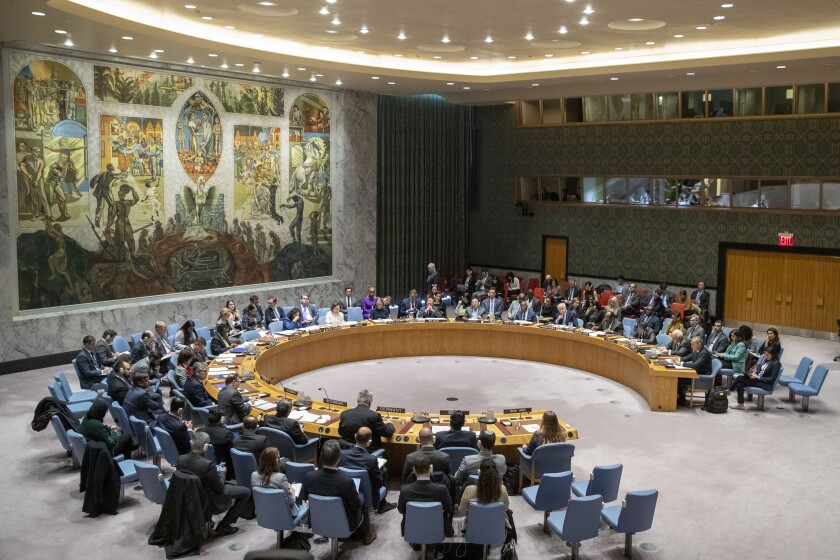 """The UN Security Council holds a meeting on the Middle East, including the Palestinian question, in this Wednesday, Nov. 20, 2019 file photo, at United Nations headquarters. The coronavirus that has claimed nearly 1 million lives has underscored the failure of the United Nations to bring countries together to defeat it. """"We could criticize the U.N. for this — but who are we really talking about, when we blame `the U.N.?'"""" Switzerland President Simonetta Sommaruga asked. """"We are in fact talking about ourselves, because the U.N. is its member states. And it is often member states that stand in the way of the U.N.'s work.""""(AP Photo/Mary Altaffer, File)"""