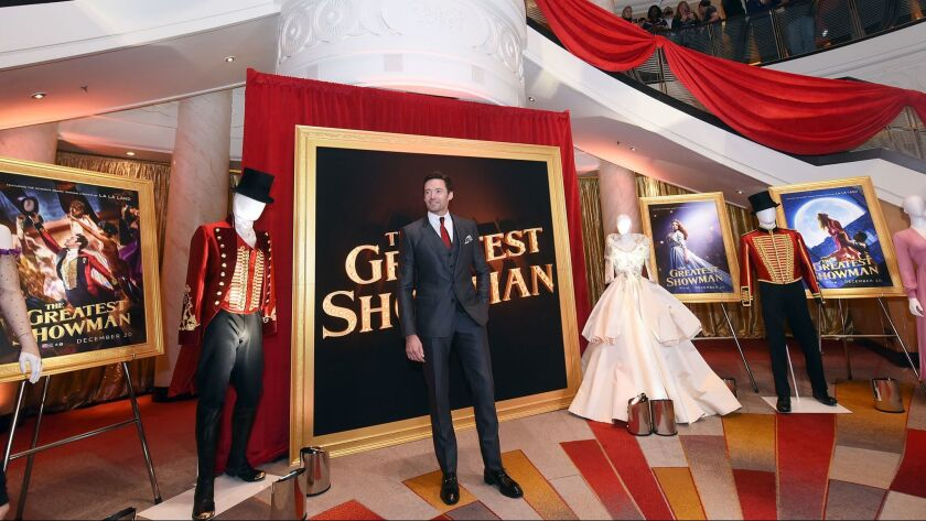 """Hugh Jackman stars in """"The Greatest Showman"""" about the life of P.T. Barnum. The film premiere took place aboard the Queen Mary 2, which was docked in New York City."""