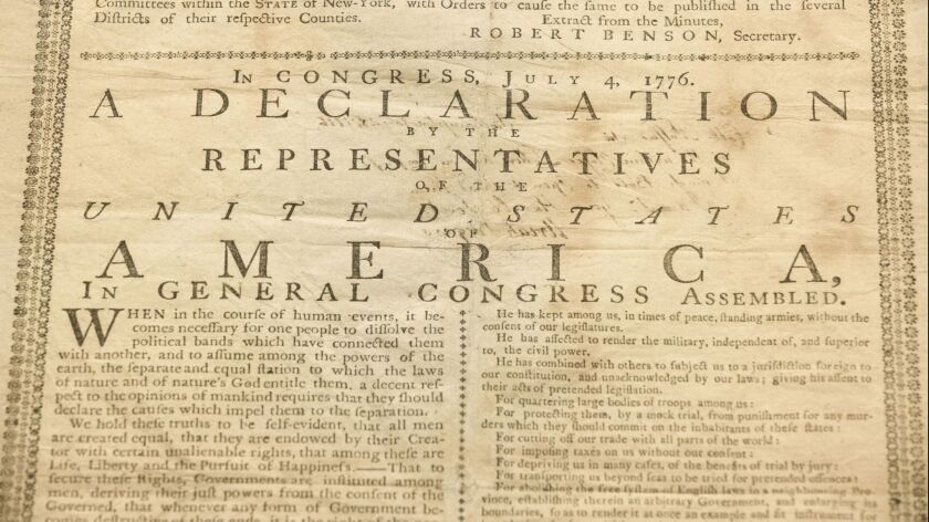 In this Monday, June 17, 2019 photo, shown is Holly Metcalf Kinyon's 1776 broadside printing of the