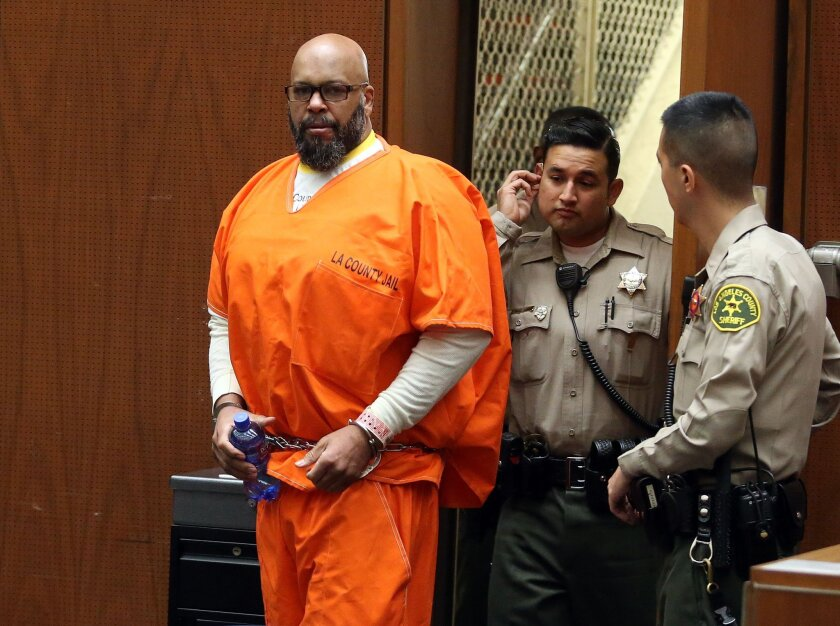 """Marion """"Suge"""" Knight appears in Los Angeles court for a pretrial hearing on Thursday. Knight has a new lawyer in a murder case."""