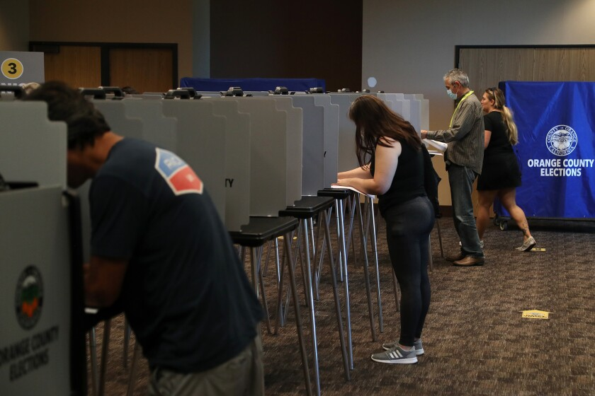 Voters cast their ballots in the Sept. 14 California recall election.