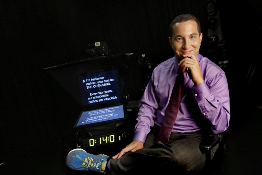 """Alexander Heffner is talk host of the new show """"The Open Mind,"""" recorded at CUNY TV station in New York."""