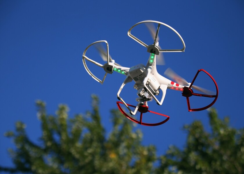 A drone is flown for recreational purposes. A man was convicted in Los Angeles on Wednesday of flying a drone too close to an LAPD helicopter during a police search this year.