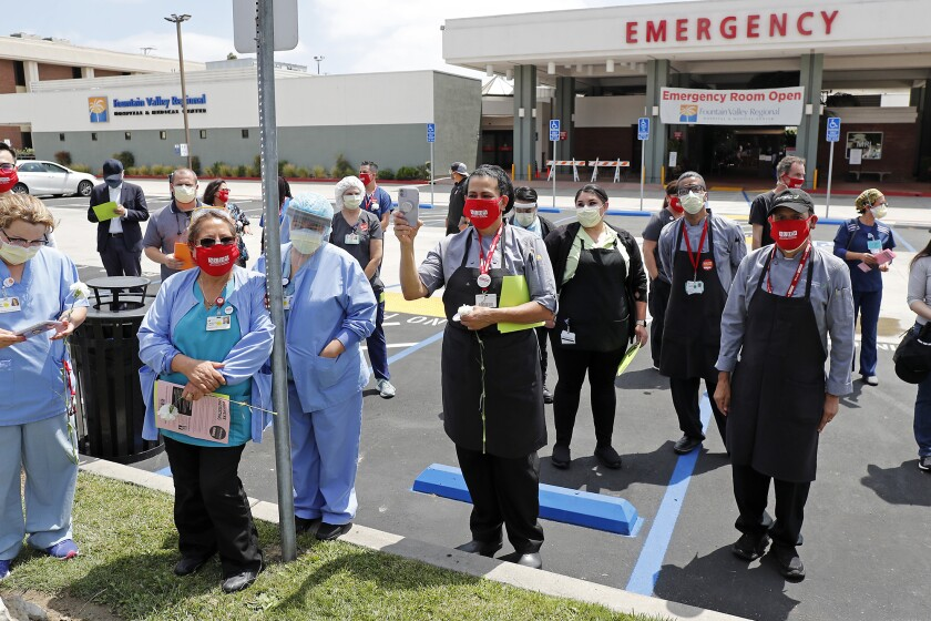 Hospital workers are dissatisfied with the safety protocols being implemented at Fountain Valley Regional Hospital.